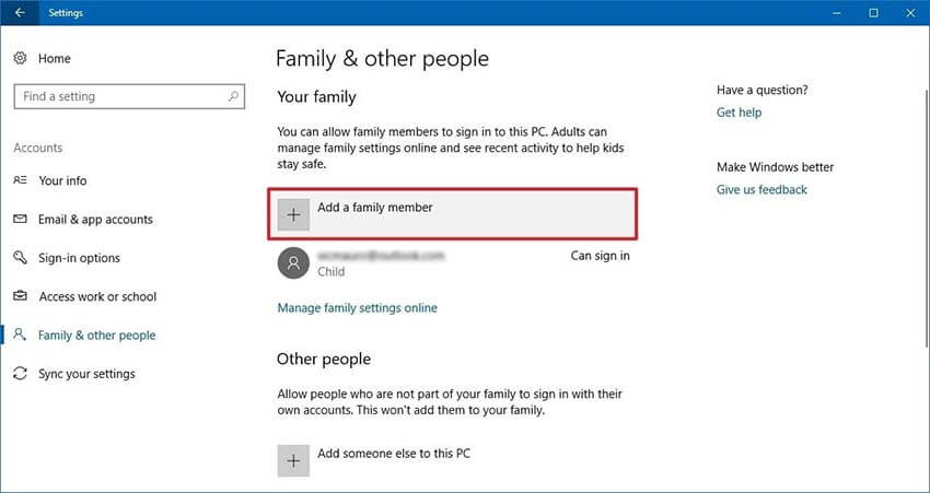 windows parental control